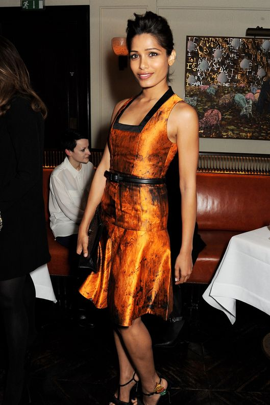 Freida Pinto attends a dinner hosted by online luxury fashion retailer NET-A-PORTER to celebrate designers Jack McCollough and Lazaro Hernandez of Proenza Schouler, and launch their exclusive capsule collection to the site, at 34 Restaurant on March 26, 2013 in London, England.