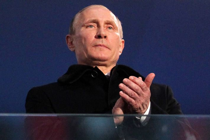 Russian President Vladimir Putin is seen during the Opening Ceremony of the Paraympic Games on March 7, 2014 in Sochi, Russia.