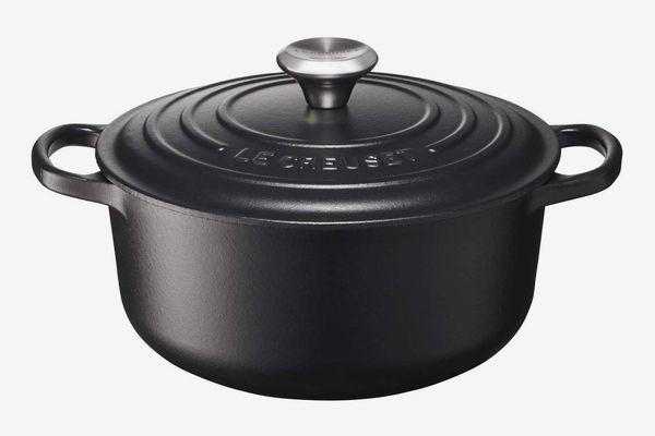 Le Creuset Signature Enamelled Cast Iron Round Casserole Dish With Lid, 20 cm, 2.4 Litres, Satin Black