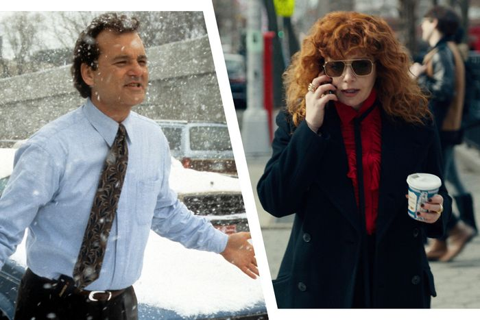 Bill Murray in Groundhog Day and Natasha Lyonne in Russian Doll.