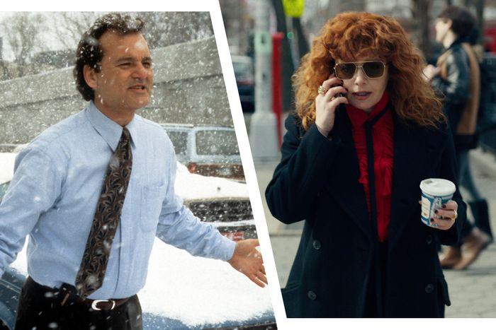 Bill Murray in Groundhog Day and Natasha Lyonne in Russian Doll.