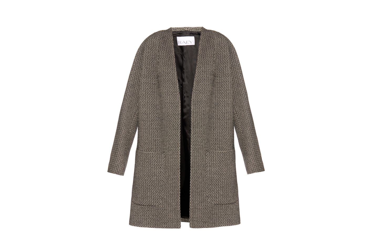 Raey Collarless Textured-Weave Jacket