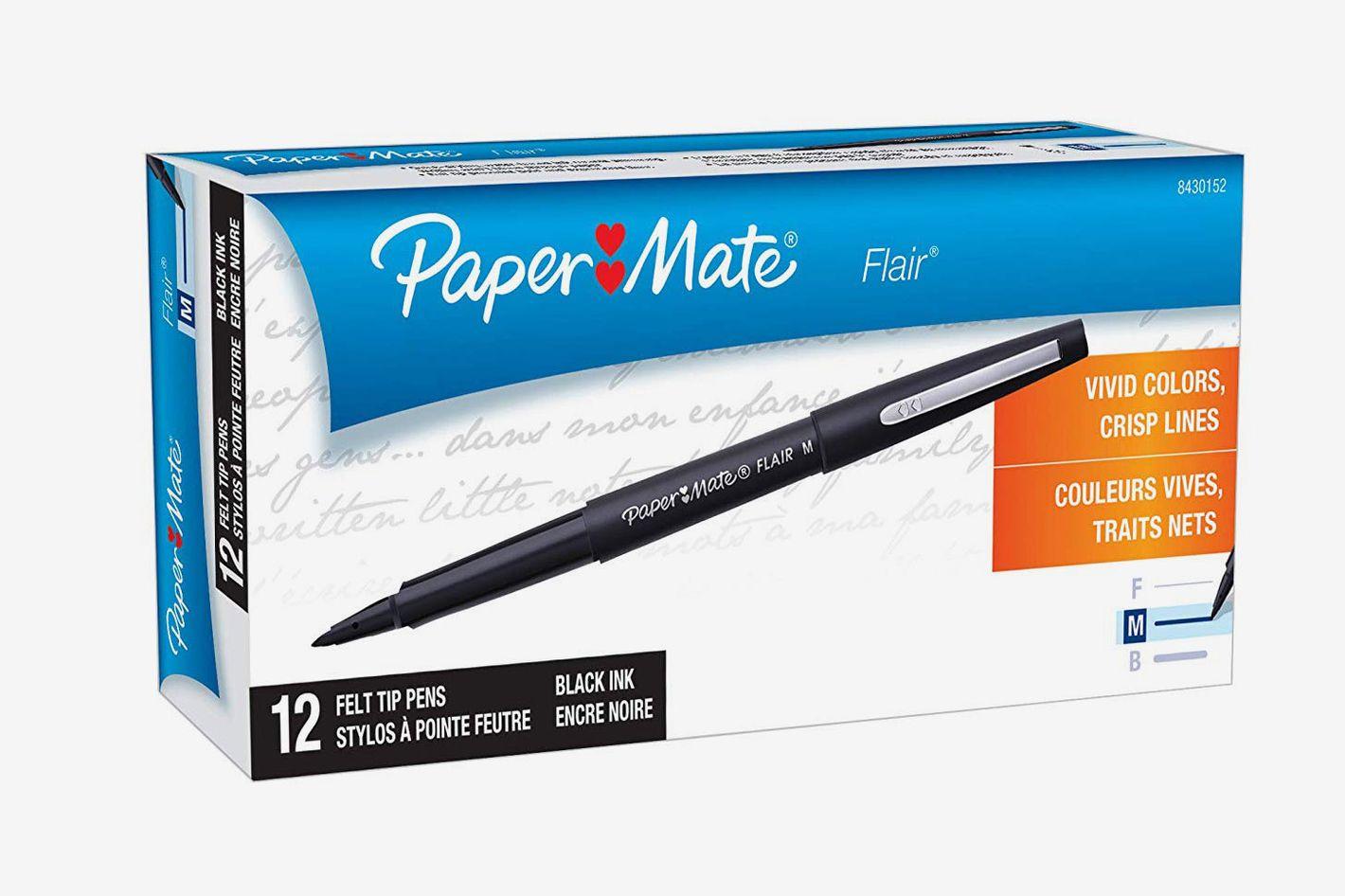 Paper Mate Flair Felt Tip Pens, Medium Point (0.7mm), Black, 12 Count