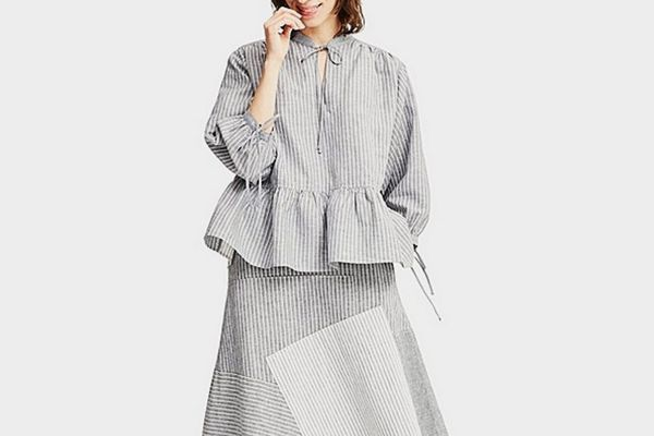 Uniqlo X JWA Cotton Striped 3/4 Length Sleeve Blouse