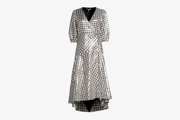 Ganni Lagarde Metallic Plaid Wrap Dress