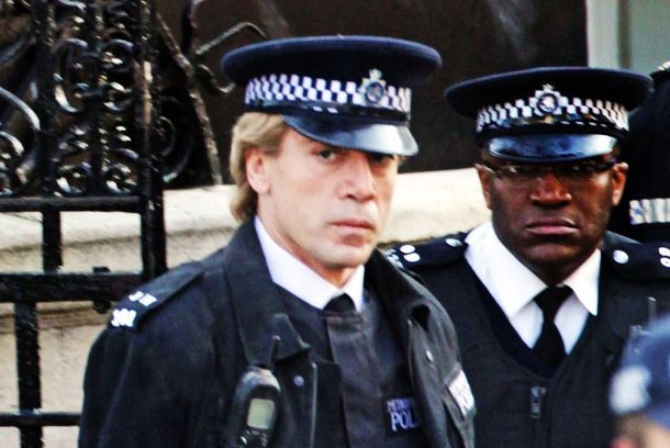 Actor Javier Bardem pictured shooting a scene for the new James Bond movie 'Skyfall' in London, UK on March 11, 2012. Javier Bardem plays the baddie RESTRICTIONS APPLY: USA/AUSTRALIA/NEW ZEALAND ONLY