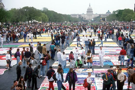 Sections of a giant quilt are on display during the Gay Rights March on April 25, 1993, in Washington, DC. More than 500,000 gays, lesbians, and bisexual activists and their friends and families participated in the largest gathering of gay men and lesbians in history organized to end discrimination.
