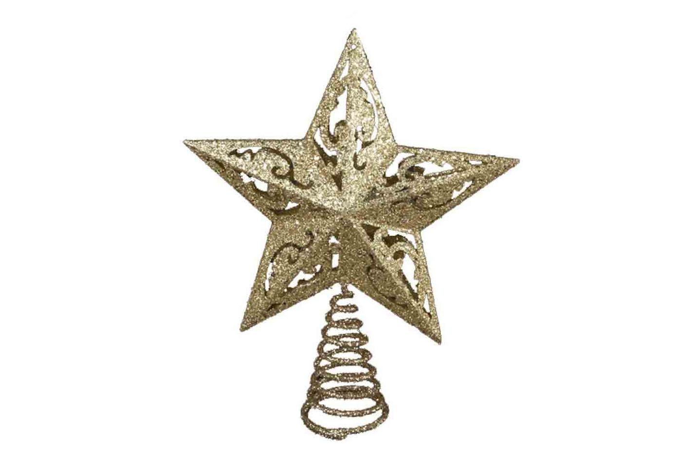 17361a9d8ce7 Best traditional star Christmas tree topper. Kurt Adler 8-Inch Gold  Glittered 5 Point Star Treetop