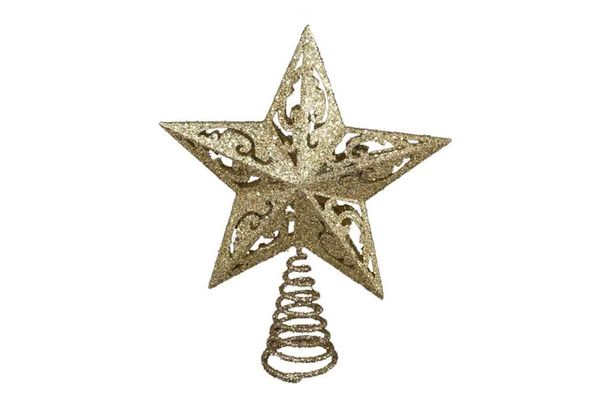 Kurt Adler 8-Inch Gold Glittered 5 Point Star Treetop