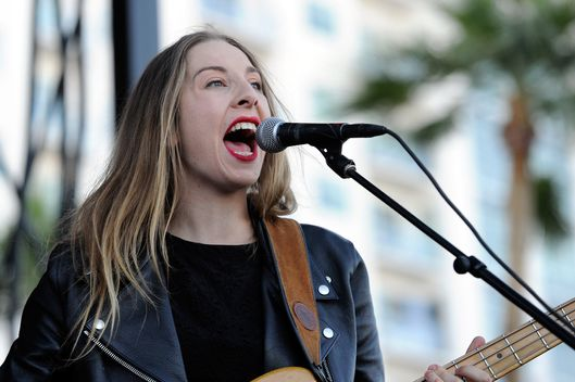 Singer/bassist Este Haim of Haim performs during the Life is Beautiful festival on October 27, 2013 in Las Vegas, Nevada.