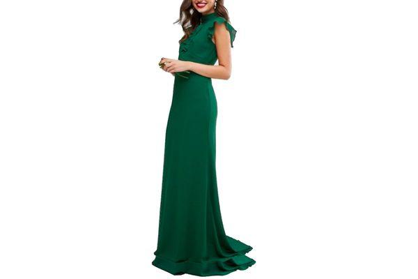 TFNC Wedding Flutter Sleeve Fitted Maxi Dress in Chiffon