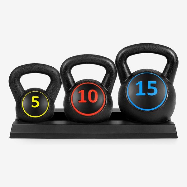 Best Choice Products 3-Piece HDPE Kettlebell Exercise Fitness Weight Set