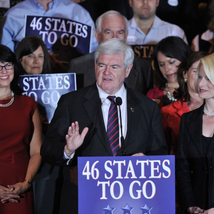 Republican presidential hopeful Newt Gingrich and his wife Callista Gingrich (R) at election night headquarters January 31, 2012 in Orlando, Florida. AFP PHOTO/Stan HONDA (Photo credit should read STAN HONDA/AFP/Getty Images)