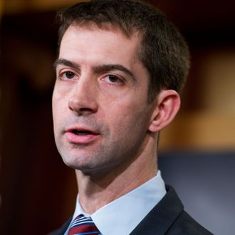 UNITED STATES - FEBRUARY 05: Sen. Tom Cotton, R-Ark., speaks during a news conference in the Capitol's Senate studio on the possibility of arming the Ukrainians in their conflict with Russian-backed rebels, February 5, 2015. (Photo By Tom Williams/CQ Roll Call)