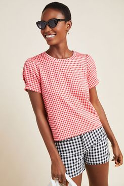&.Layered Gingham Puff-Sleeved Top