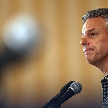 CONCORD, NH - JANUARY 06:  Republican presidential candidate, former Utah Gov. Jon Huntsman speaks at the New England College Convention January 6, 2012 in Concord, New Hampshire. Huntsman, who recently received the endorsement of the Boston Globe, also commented on a controversial political web ad created by supporters of Ron Paul that uses images of Huntsman's adopted daughters.  (Photo by Win McNamee/Getty Images)