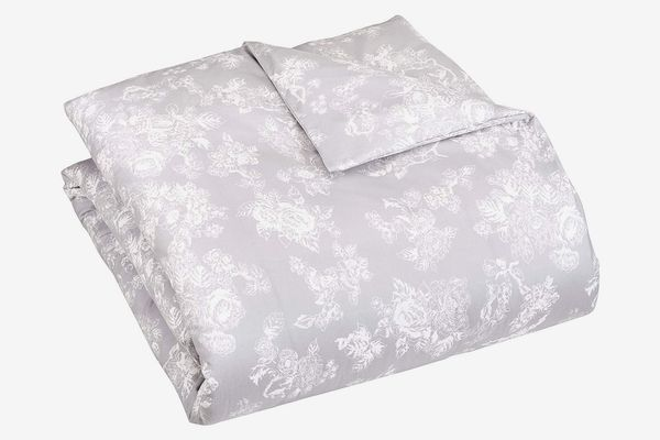 Pinzon 170 Gram Flannel Duvet Cover — Full/Queen, Floral Grey