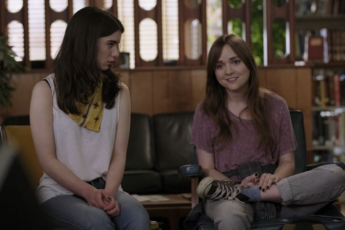 Tara Lynne Barr as Laura, Dylan Gelula as Aubrey.