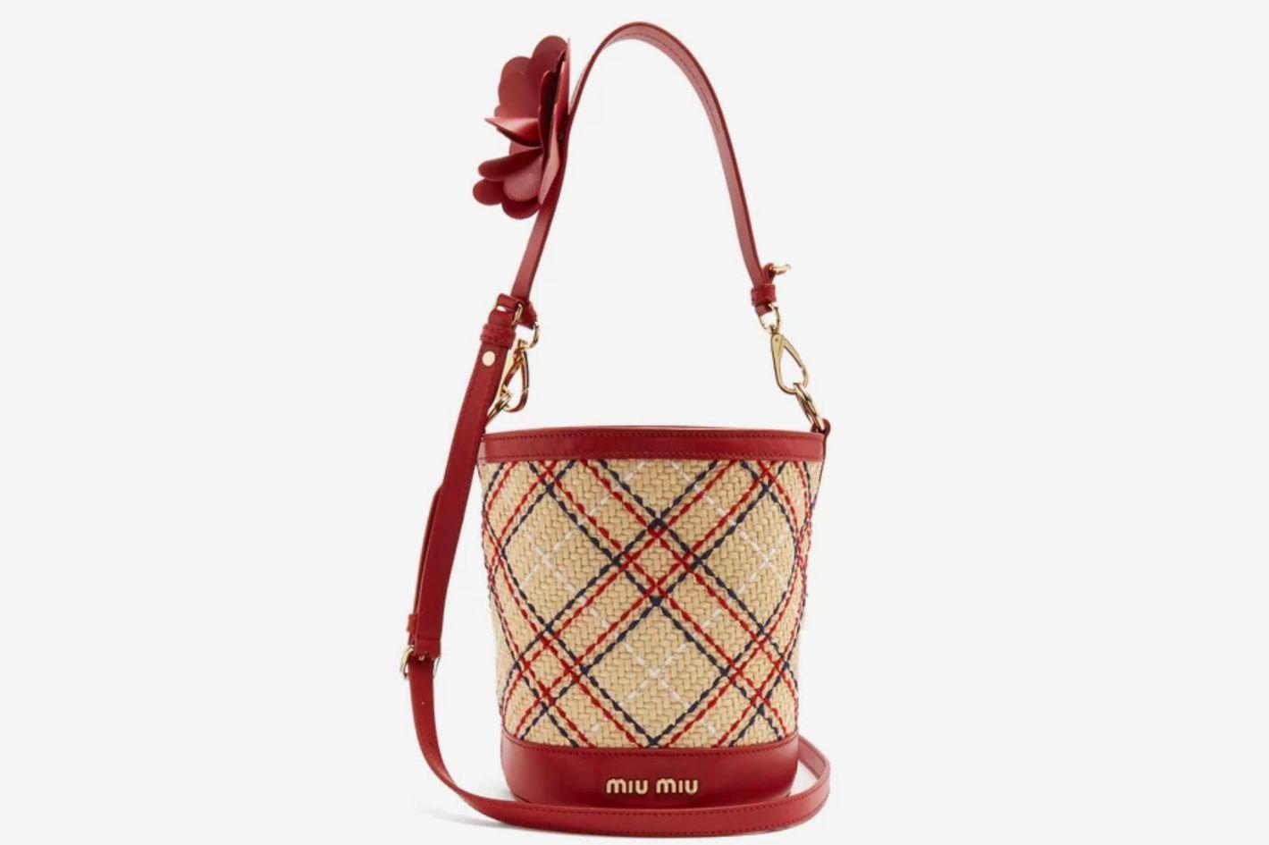 Miu Miu Embroidered-Raffia Bucket Bag