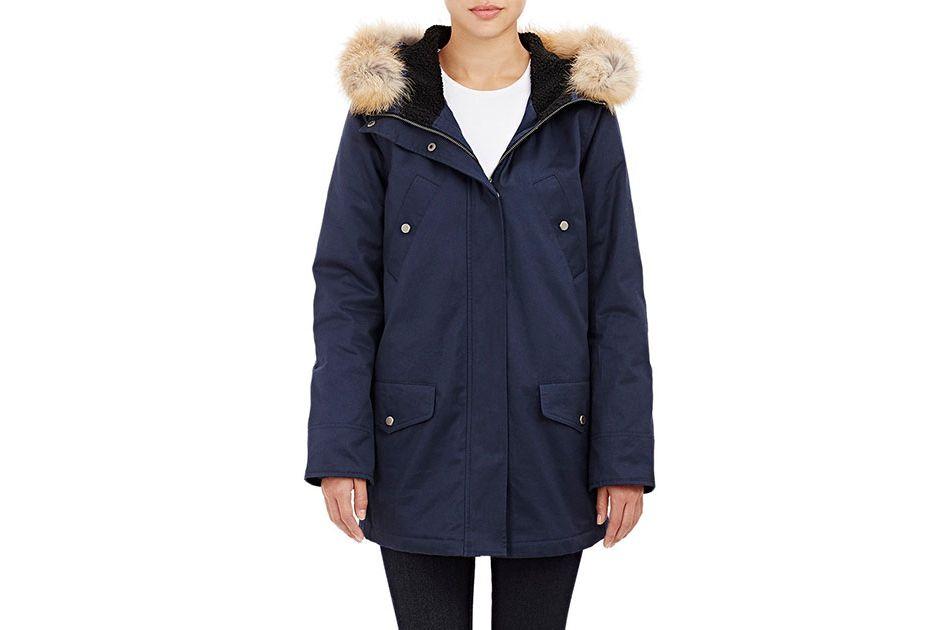 Barneys New York Fur-Trimmed Hooded Anorak