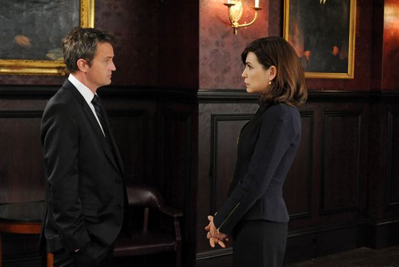 """Blue Ribbon Panel"" -- When Alicia (Julianna Margulies, right) is assigned to be on a panel investigating a police shooting, she begins to question the motivations behind the actions of  Mike Kresteva (Matthew Perry, left), the panel chairman, on THE GOOD WIFE, Sunday, March 25 (9:00-10:00 PM ET/PT) on the CBS Television Network. Photo: David M. Russell/CBS √?¬©2012 CBS Broadcasting, Inc. All Rights Reserved"