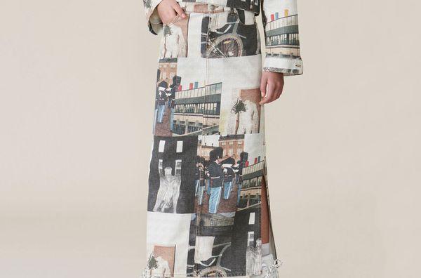Printed Denim Maxi Skirt