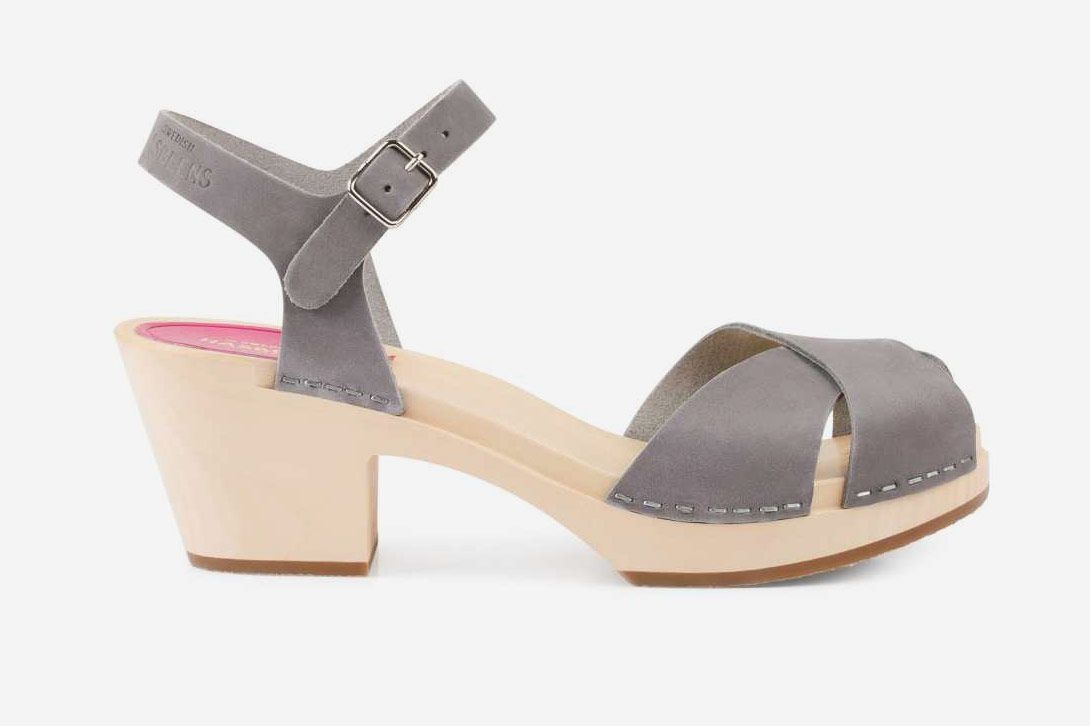 Swedish Hasbeens Mirja Sandals, Grey Nubuck
