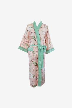 Powell Craft Ladies Peach Blossom and Birds Print Cotton Dressing Gown