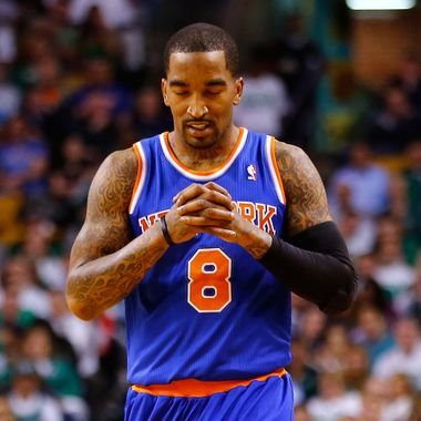 BOSTON, MA - APRIL 26: J.R. Smith #8 of the New York Knicks reacts after missing a shot against the Boston Celtics during Game Three of the Eastern Conference Quarterfinals of the 2013 NBA Playoffs on April 26, 2013 at TD Garden in Boston, Massachusetts. NOTE TO USER: User expressly acknowledges and agrees that, by downloading and or using this photograph, User is consenting to the terms and conditions of the Getty Images License Agreement. (Photo by Jared Wickerham/Getty Images)