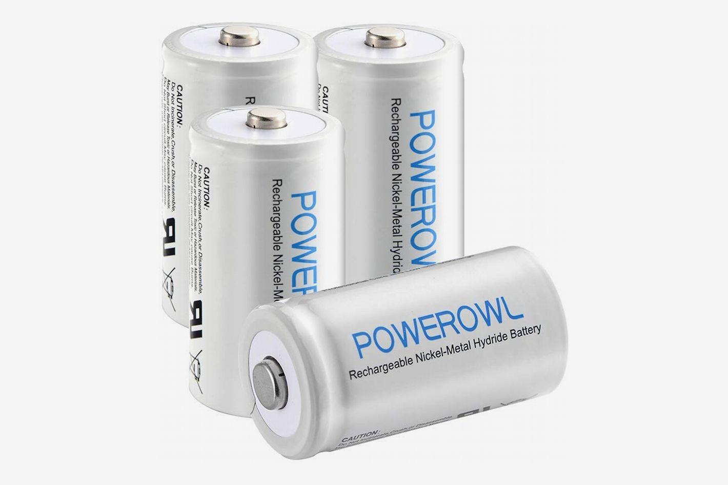 POWEROWL D Size Rechargeable Batteries (4-Pack)