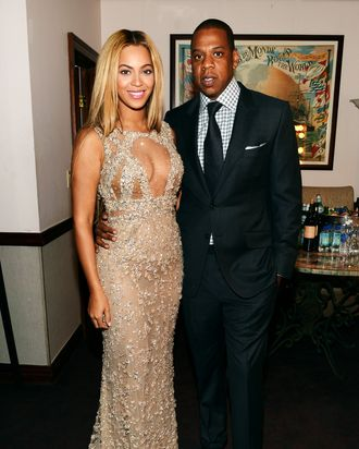 NEW YORK, NY - FEBRUARY 12: Beyonce and Jay-Z attend the HBO Documentary Film