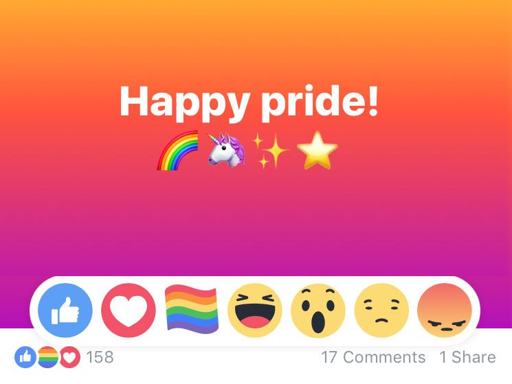 Facebook Gay Pride Flag Emoji Only Available to Select Users