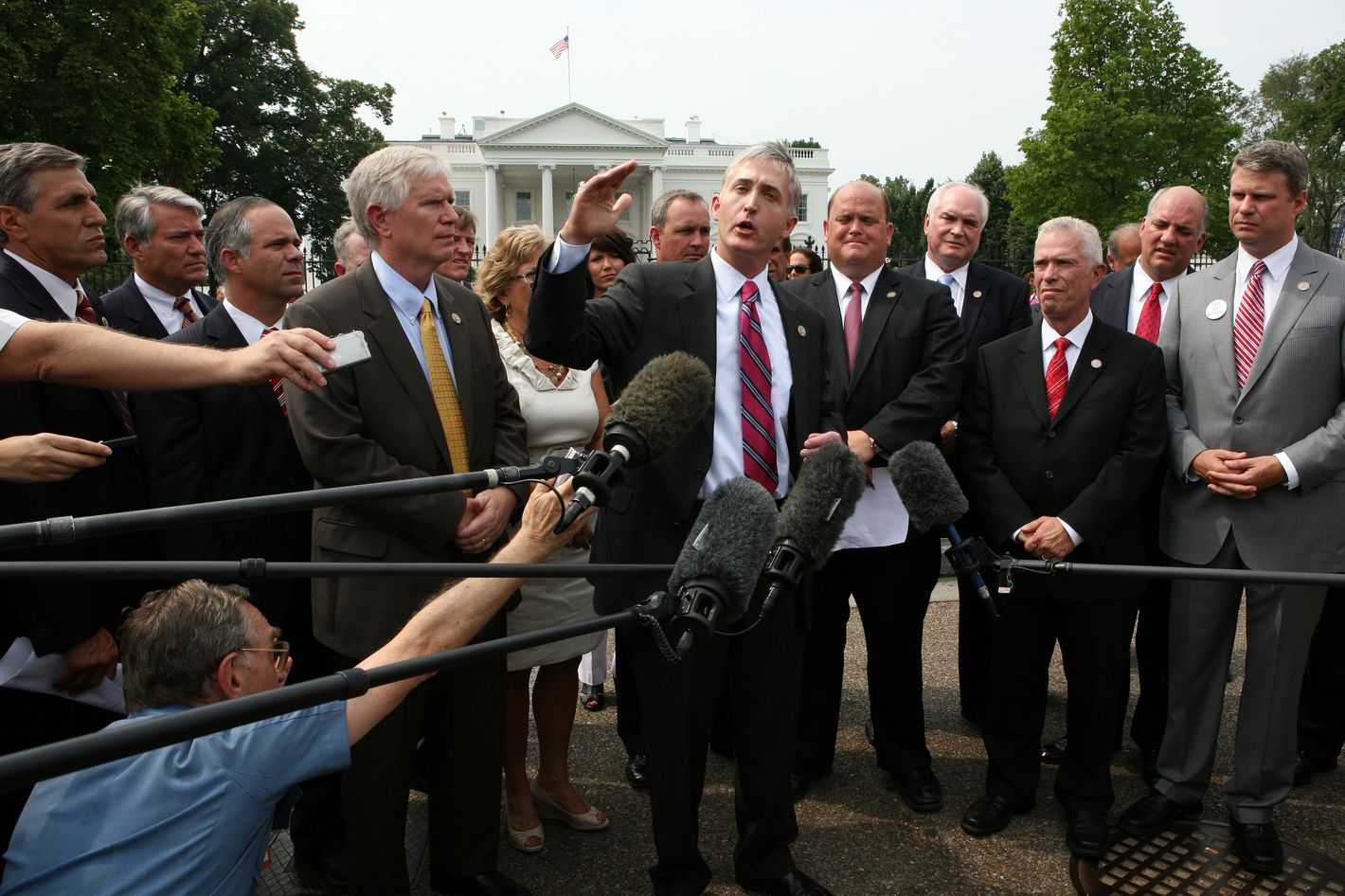 Representative Trey Gowdy (R-SC) addresses the media outside the White House to call attention to a letter that he and fellow Republican House members delivered to the White House calling on President Obama to put his plan for raising the country's debt ceiling in writing, in Washington, Tuesday, July 19, 2011.