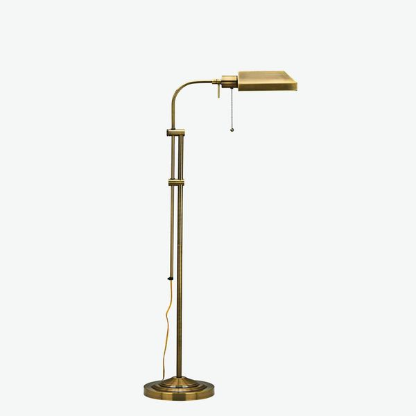 Lamps Plus Antique Brass Adjustable Pole Pharmacy Metal Floor Lamp