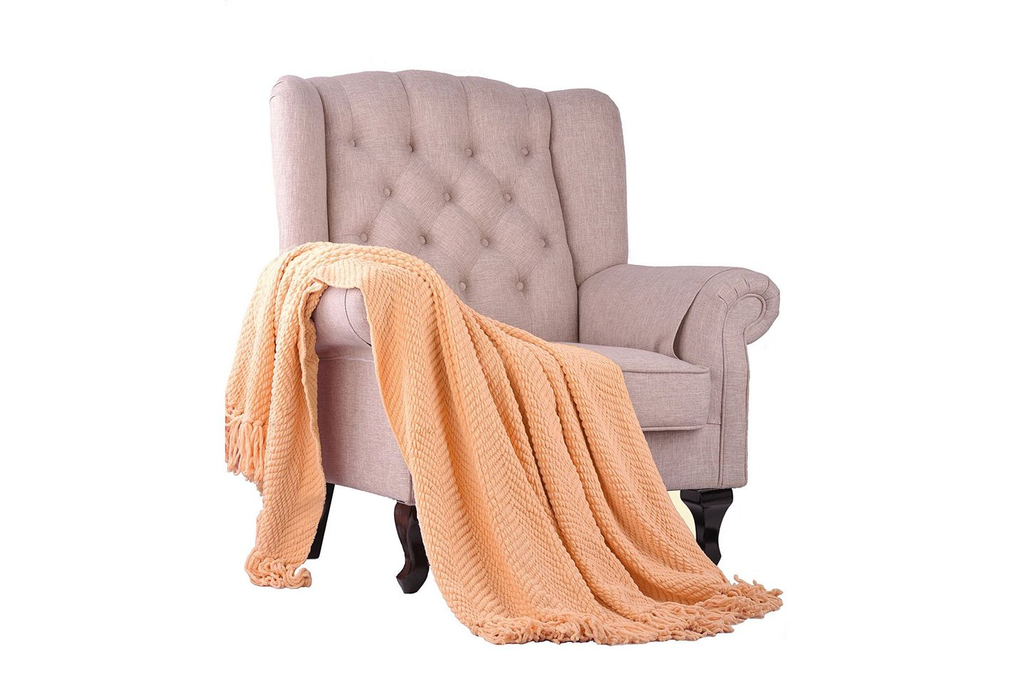 Boon Knitted Tweed Throw Couch Cover Blanket, Peach Melba