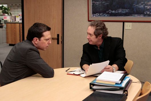 "THE OFFICE -- ""Doomsday"" Episode 803 -- Pictured: (l-r) Ed Helms as Andy Bernard, James Spader as Robert California -- Photo by: Chris Haston/NBC"