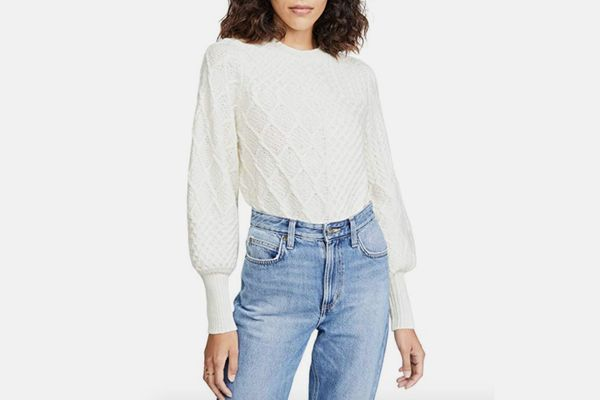 FRAME Women's Patchwork Cable Crew Sweater