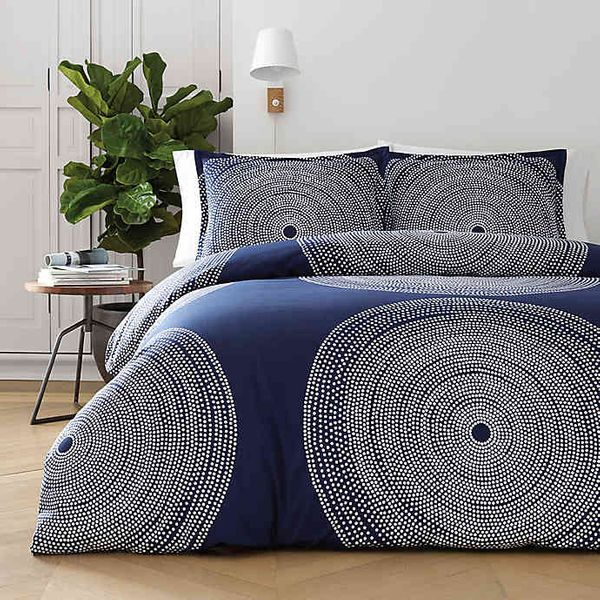 Marimekko Fokus Navy Cotton 3-Pc. Full/Queen Duvet Cover Set