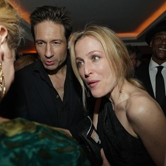 NEW YORK - NOVEMBER 22: (L-R) David Duchovny and Gillian Anderson attend the after party for the opening night of