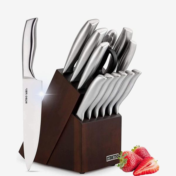 HOBO Kitchen Knife Set With Wooden Block, 14-Piece
