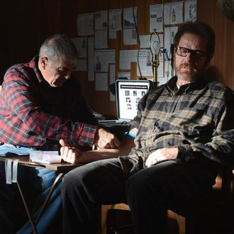 Ed (Robert Forster) and Walter White (Bryan Cranston) - Breaking Bad _ Season 5, Episode 15 - Photo Credit: Ursula Coyote/AMC