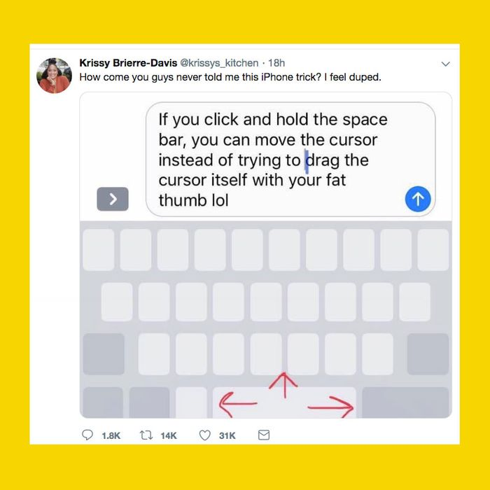 iPhone Hack for Using Keyboard as Cursor for Typo Fixing