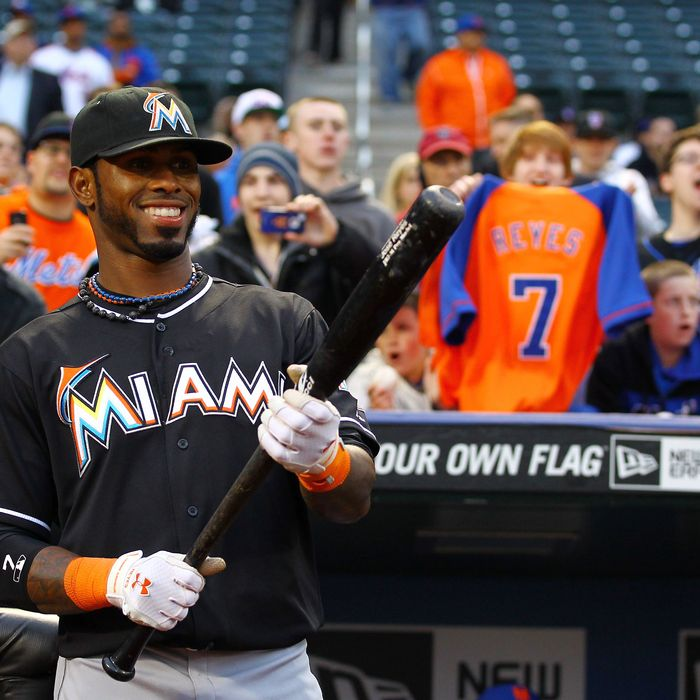 Jose Reyes #7 of the Miami Marlins looks at a tribute video of himself when he played for the New York Mets before his first game back to Citi Field against the Mets on April 24, 2012 at Citi Field in the Flushing neighborhood of the Queens borough of New York City.