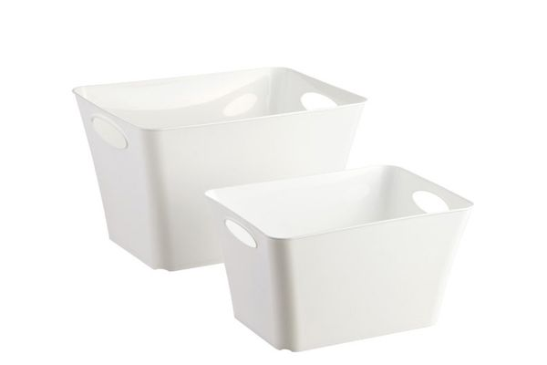 White Taper Storage Bins With Handles
