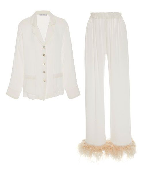 Sleeper Ostrich Feather-Trimmed Satin Pajama Set