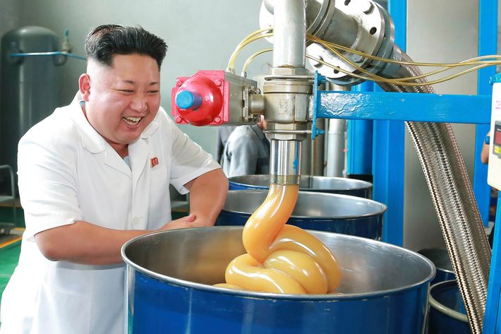 North Korean leader Kim Jong Un smiles during a visit to the Chonji Lubricant Factory, in this undated photo released by North Korea's Korean Central News Agency (KCNA) in Pyongyang August 6, 2014. REUTERS/KCNA (NORTH KOREA - Tags: POLITICS IMAGES OF THE DAY) ATTENTION EDITORS ? THIS PICTURE WAS PROVIDED BY A THIRD PARTY. REUTERS IS UNABLE TO INDEPENDENTLY VERIFY THE AUTHENTICITY, CONTENT, LOCATION OR DATE OF THIS IMAGE. FOR EDITORIAL USE ONLY. NOT FOR SALE FOR MARKETING OR ADVERTISING CAMPAIGNS. NO THIRD PARTY SALES. NOT FOR USE BY REUTERS THIRD PARTY DISTRIBUTORS. SOUTH KOREA OUT. NO COMMERCIAL OR EDITORIAL SALES IN SOUTH KOREA. THIS PICTURE IS DISTRIBUTED EXACTLY AS RECEIVED BY REUTERS, AS A SERVICE TO CLIENTS - RTR41DI9