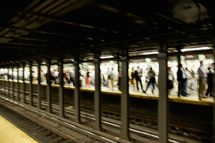 Manhattan, New York City, New York State, USA --- Commuters Waiting for Subway.
