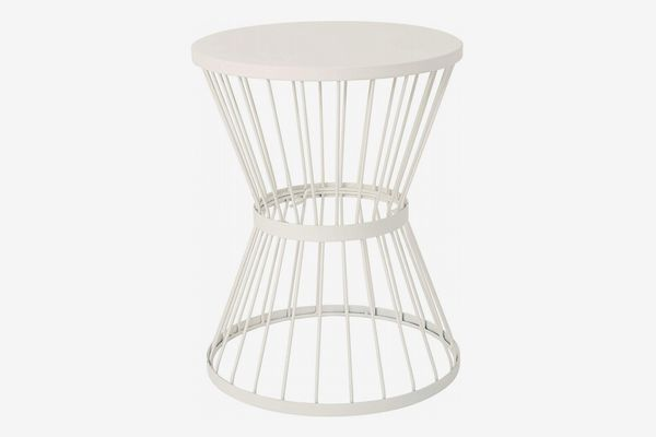 Great Deal Furniture Fern Outdoor 16-Inch Matte White Iron Side Table