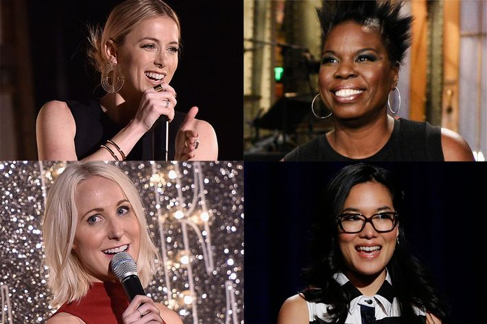 Clockwise, from top left: Iliza Shlesinger, Leslie Jones, Nikki Glaser, and Ali Wong.