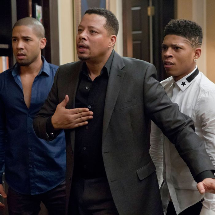 EMPIRE: Jamal (Jussie Smollet, L) and Hakeem (Bryshere Gray, R) listen to Lucious (Terrence Howard, C) make a confession in the